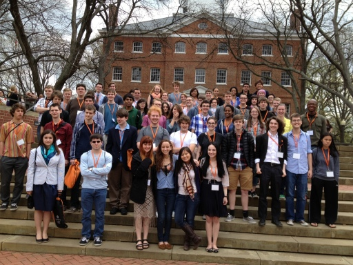 The whole crew gathers in front of McDowell Hall after their morning seminars on Plato's Meno!