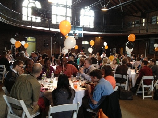 Current students join accepted students for lunch in the Iglehart gym.