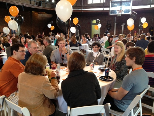 Accepted students dine with current students in the Iglehart gym.