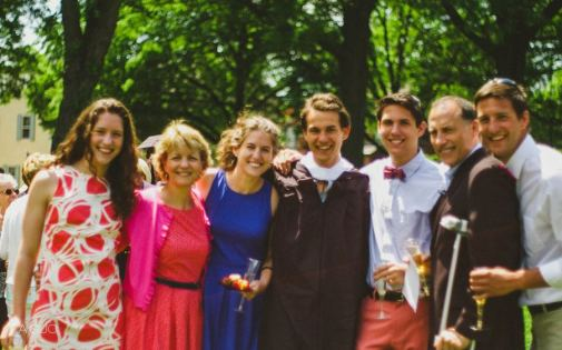 Graduating senior Hunter Cox with his happy family. (Photo by Any Guo)