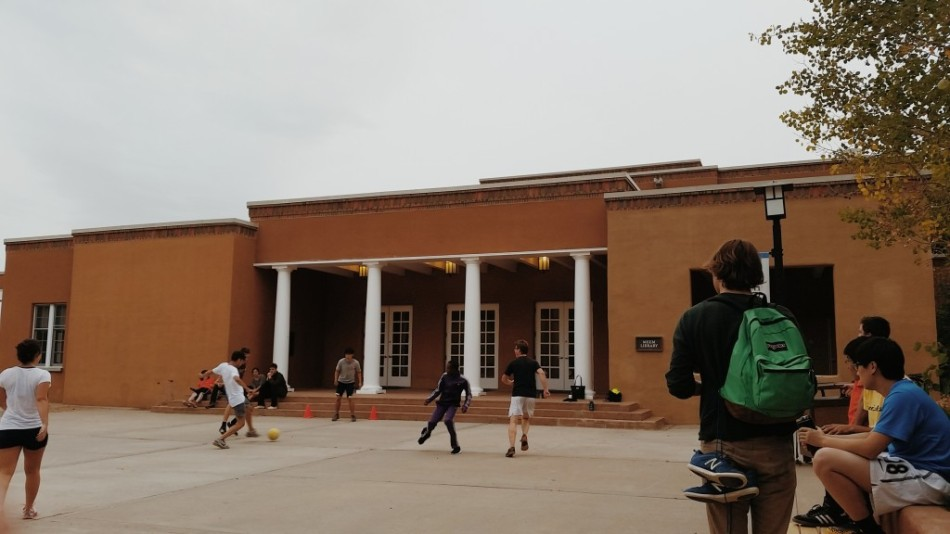 Intramural Soccer outside St. John's College, Santa Fe's Meem Library