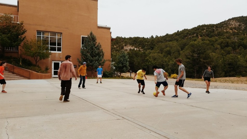 Intramural Soccer outside St. John's College, Santa Fe's Meem Library