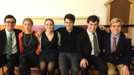 The directors and cast of God of Carnage backstage on opening night. From left to right: director Collin Ziegler A17; Simone Louw A18; Sarah Irving A18; Cyrus Multhauf A18; Wesley Sonheim A17; assistant director Alex Warren A18