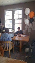 Seniors writing in the writing lounge