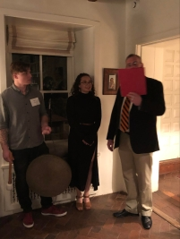 A senior's name and essay title are read out loud and a gong is struck as she enters the Hunt House