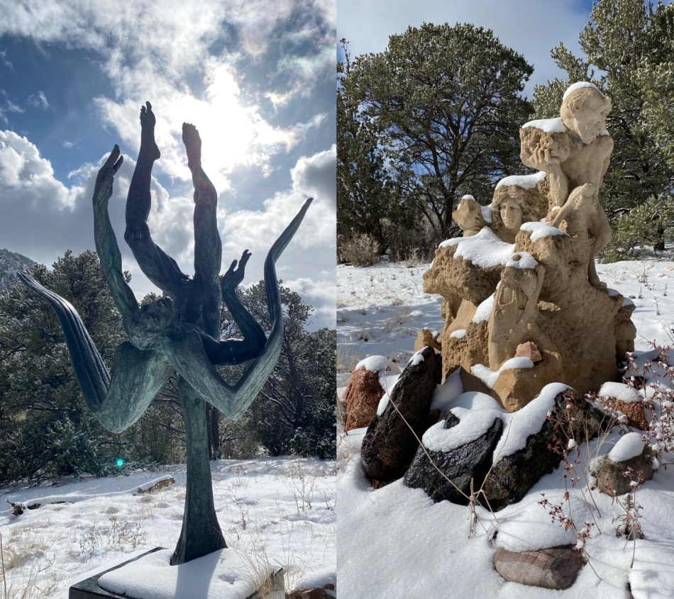 Statues in snow